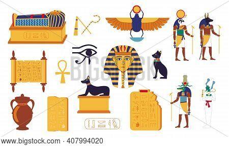 Egypt Hieroglyphs. Cartoon Egyptian Culture Elements. Ancient Graves Of Pharaohs, Mythological Gods,