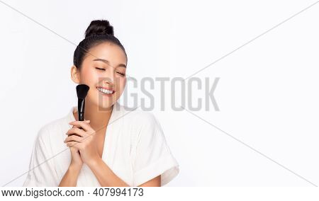 Happy Beauty Asian Woman Hold Makeup Brush Attractive Beautiful Girl Love Beauty Makeup By Using Bru