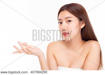 Happy Beautiful Asian Woman Has Beauty Facial Skin Beauty Female Holding Copy Space Imaginary On Bea