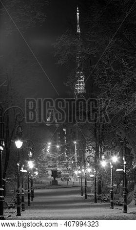 Grayscale. Beautiful Night Winter Ivan Franko Park Walkway In The Center Of Lviv City (ukraine), And