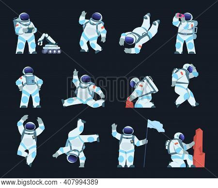 Astronaut. Cartoon Spaceman In Different Poses. Isolated Cosmic Explorer Wears Spacesuit And Helmet.