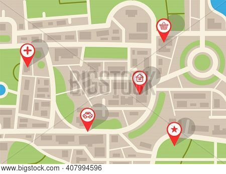 City Map. Navigation Plan With Red Pins. Online Gps Application, Web Navigational Service With Icons
