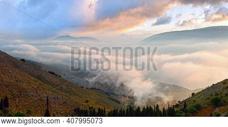 Morning Cloudy Summer Mountain Landscape (kefalonia, Greece). Panorama.