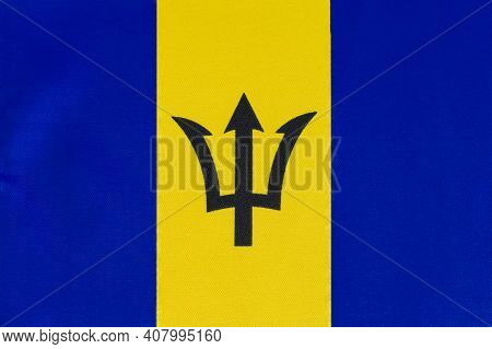 National Flag Of Barbados Close-up On Fabric Base