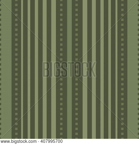 Vector Stitch Stripe Effect Seamless Pattern Background. Sage Green Backdrop With Vertical Stripes A