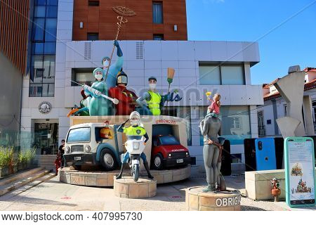 Torres Vedras, Portugal - February 2021: The Famous Torres Vedras Carnival Is A Covid 19 Theme. Figu