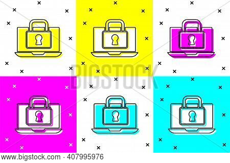 Set Laptop And Lock Icon Isolated On Color Background. Computer And Padlock. Security, Safety, Prote