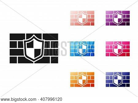 Black Shield With Cyber Security Brick Wall Icon Isolated On White Background. Data Protection Symbo