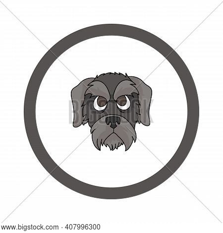 Cute Cartoon Schnauzer Face In Circle Puppy Vector Clipart. Pedigree Kennel Doggie Breed For Kennel