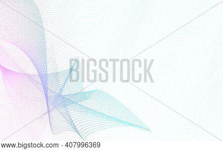 Aquamarine, Blue, Magenta Net Pattern. Technology Line Art Design. Vector Guilloche. Colored Waterma