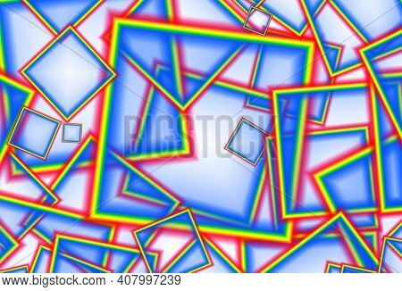 Chaotic Geometric Cubic Pattern In Tricolor For Background, Illustration