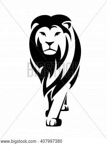 Standing African Lion With Big Mane En Face Portrait - Wild Big Cat Black And White Vector Design