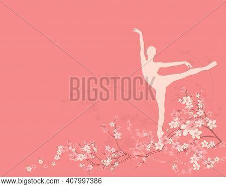 Beautiful Ballet Dancer Among Blooming Sakura Tree Branches - Classical Ballerina Spring Season Outd