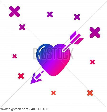 Color Amour Symbol With Heart And Arrow Icon Isolated On White Background. Love Sign. Valentines Sym