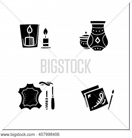 Craft Hobby Set Glyph Icons. Handmade And Homemade Concept. Consist Of Handmade Candles, Painting By