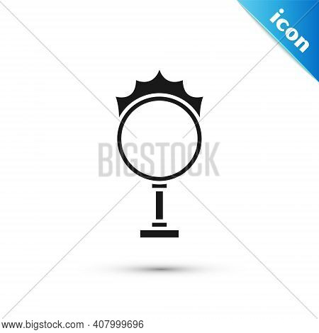 Grey Circus Fire Hoop Icon Isolated On White Background. Ring Of Fire Flame. Round Fiery Frame. Vect