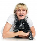 Cocker spaniel and pretty smiling woman on white background poster