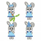 four nice hares on white background vector poster