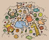 Composition of funny animals and objects: hand drawn vector illustration poster