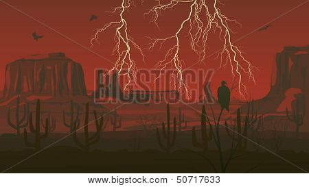 Horizontal Illustration Of Prairie Wild West With Thunderstorm Lightning.