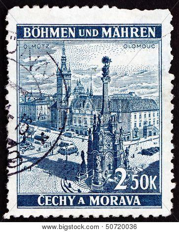 Postage Stamp Czechoslovakia 1939 Town Square, Olomouc