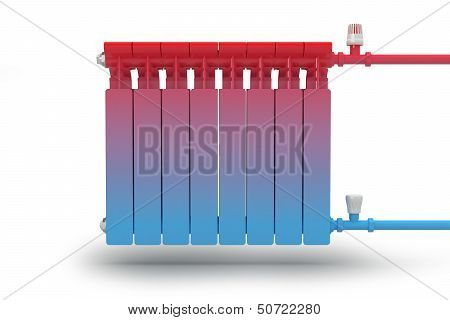 The circulation of heat flow in the radiator heating system.