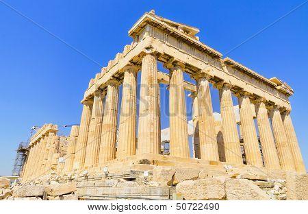 Ancient Parthenon temple. Acropolis in Athens Greece