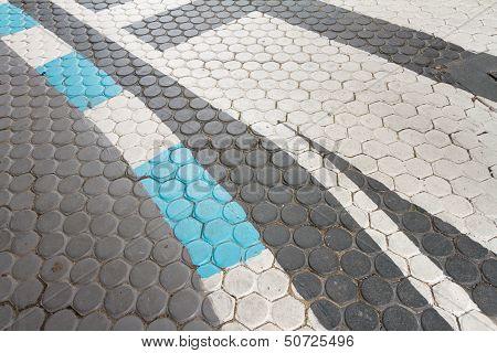 Traffic Line On Concrete Paving Block