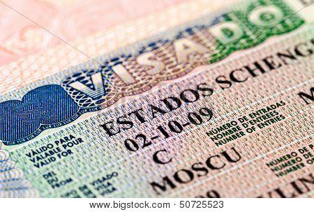 Fragment Of Schengen Visa In The Passport