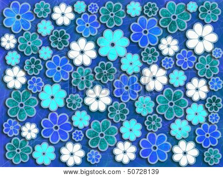 Blue And Green Flower Art Pattern