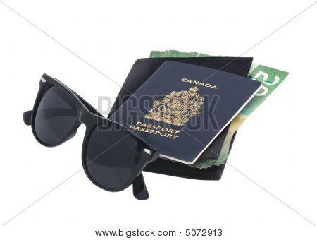 Sunglasses, Passport And Money