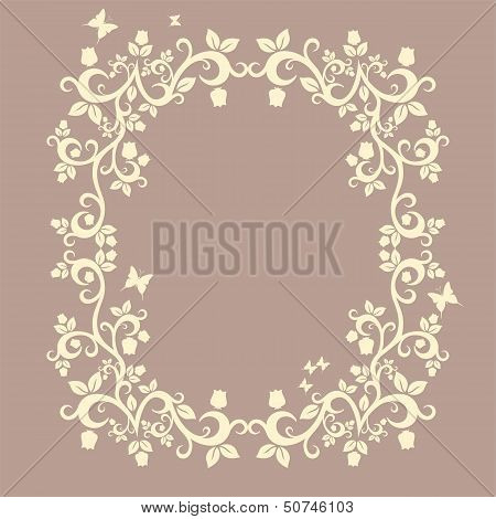 Brown Or Fallow Beautiful Illustration Of Floral Ornament For Your Design