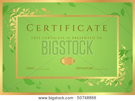 Certificate, Diploma of completion (design template)