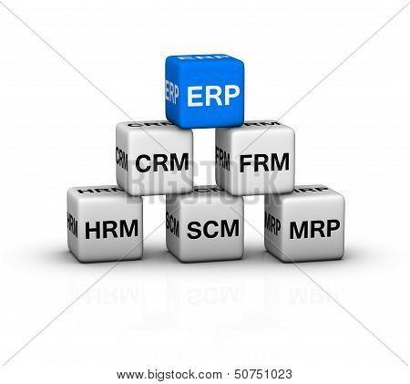 ERP (Enterprise Resource Planning) System illustration blue white poster