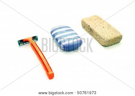 Different Means Of Hygiene - Pumice, The Machine For Shaving And Soap