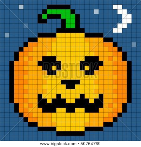 8-bit Pixel Art Halloween Pumpkin