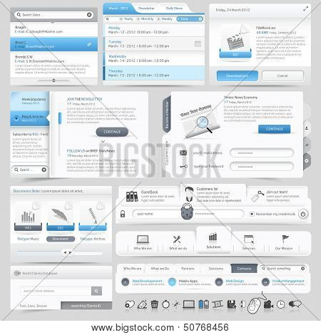 Collection of website template navigation UI Infographics elements with icons poster