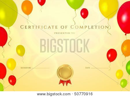 Certificate, Diploma of completion (balloons design template)