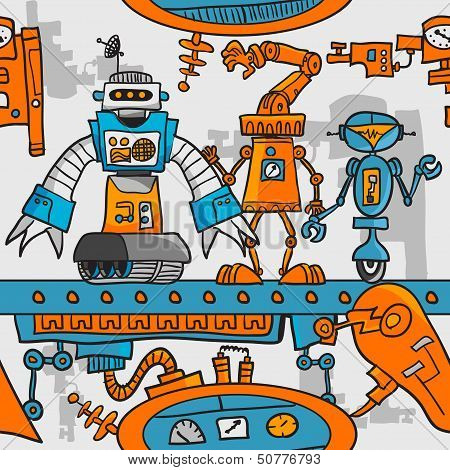 Seamless pattern cartoon robots on the assembly line