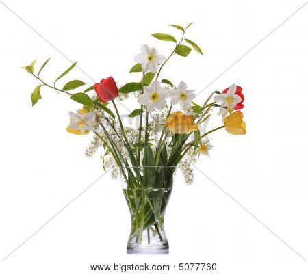 springtime bouquet with daffodils tulips bird cherry in glass vase poster