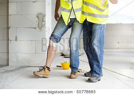 Construction worker has an accident while working on new house poster