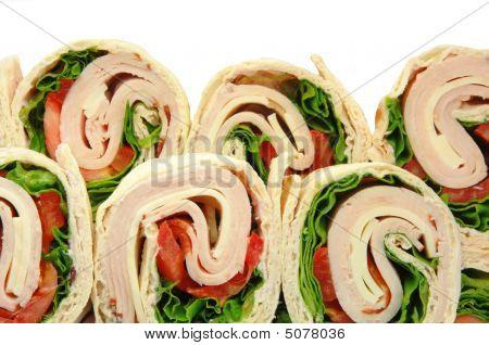 Turkey Wrap Sandwiches On White
