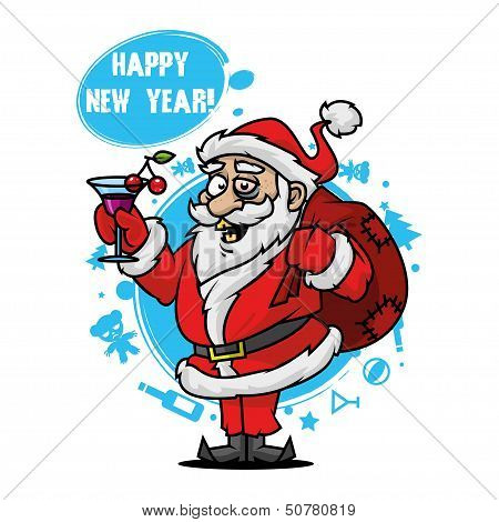 Santa with a glass of wine