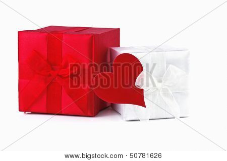 Gift Box with red Heart isolated on White