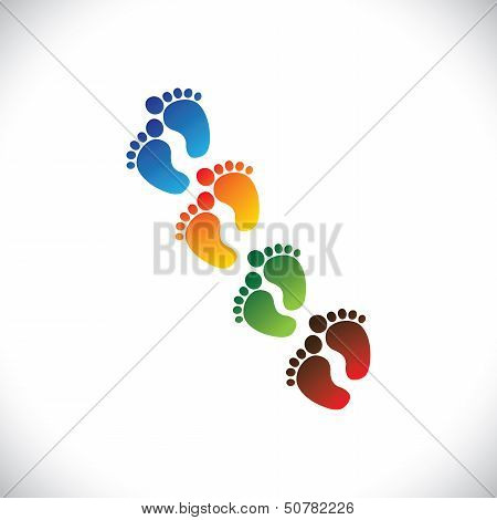 baby's or toddler's colorful foot step pairs for kindergarten - vector graphic. This illustration can represent play school nursery or pre-school of kids & toddlers or baby care centers etc poster
