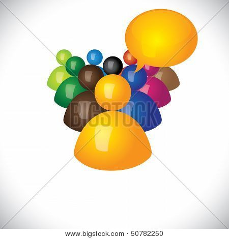 Colorful 3D Icons Or Signs Of Manager Talking To Diverse Team - Vector Graphic