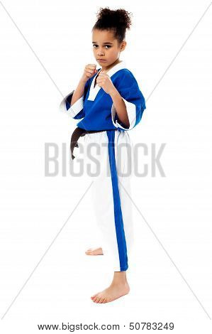 Serious Karate Girl With Her Fist In Foreground