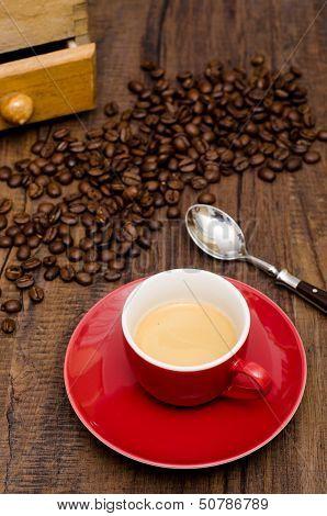 Espresso Coffee In A Red Mug