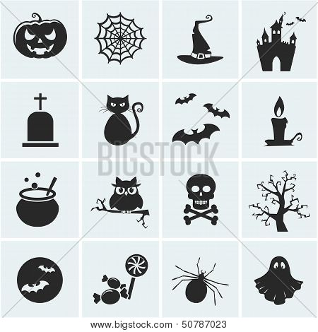 Set Of Vector Halloween Icons.
