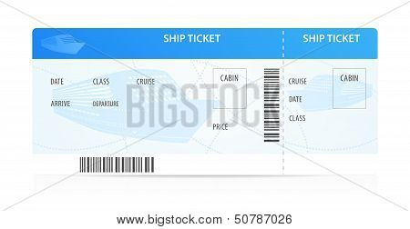 Isolated Vector Ship ticket (template / layout) with silhouette